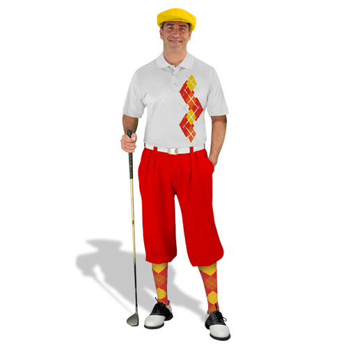 Golf Knickers Argyle Paradise Outfit 5A - Red/Orange/Yellow