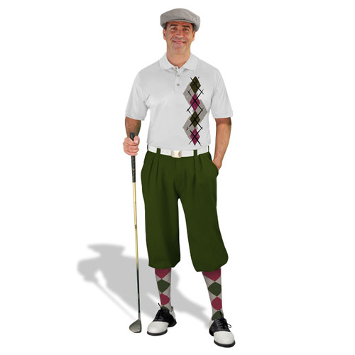 Golf Knickers Argyle Paradise Outfit B - Taupe/Maroon/Olive