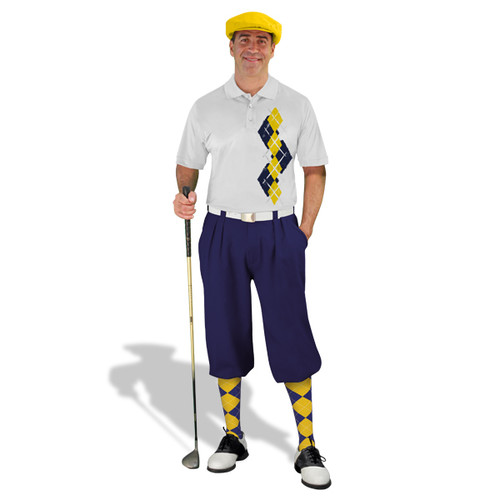 Golf Knickers Argyle Paradise Outfit F - Navy/Yellow