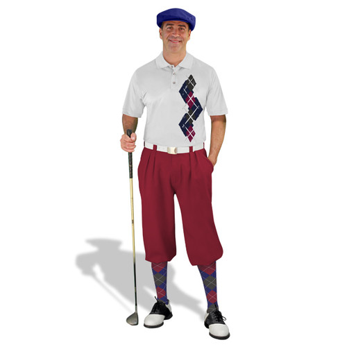 Golf Knickers Argyle Paradise Outfit Q - Navy/Maroon/Charcoal