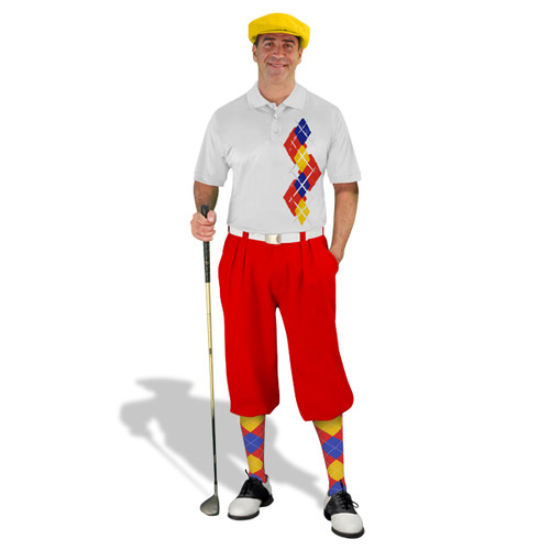 Golf Knickers Argyle Paradise Outfit 5B - Red/Yellow/Royal