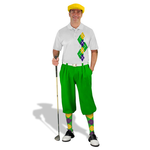 Golf Knickers Argyle Paradise Outfit 5E - Lime/Purple/Yellow
