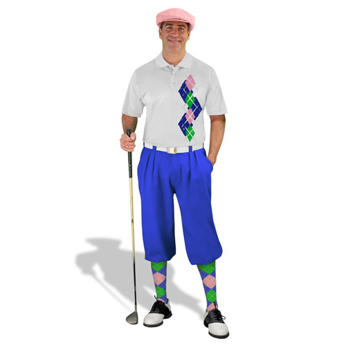 Golf Knickers Argyle Paradise Outfit 5M - Royal/Lime/Pink