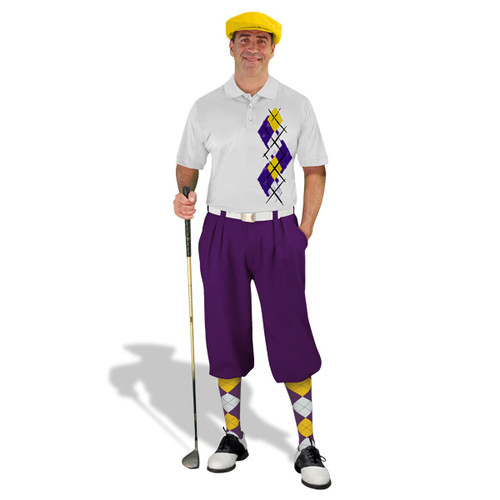 Golf Knickers Argyle Paradise Outfit 5Q - Purple/Yellow/White
