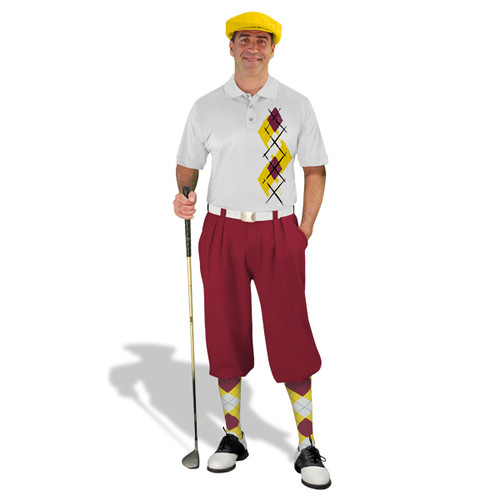 Golf Knickers Argyle Paradise Outfit 5R - Yellow/Maroon/White