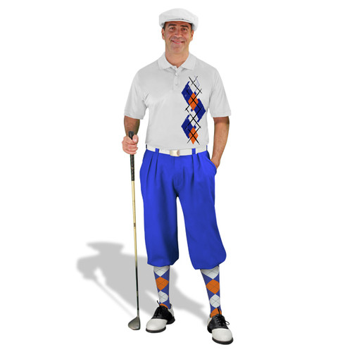 Golf Knickers Argyle Paradise Outfit 5S - Royal/White/Orange