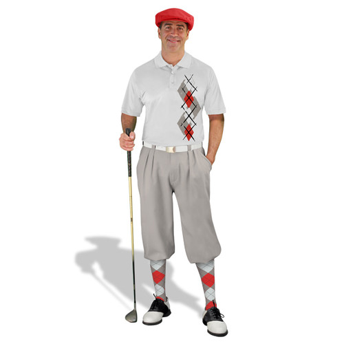 Golf Knickers Argyle Paradise Outfit 5T - Taupe/Red/White