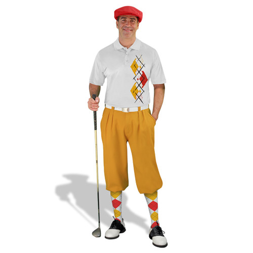 Golf Knickers Argyle Paradise Outfit 5W - White/Gold/Red