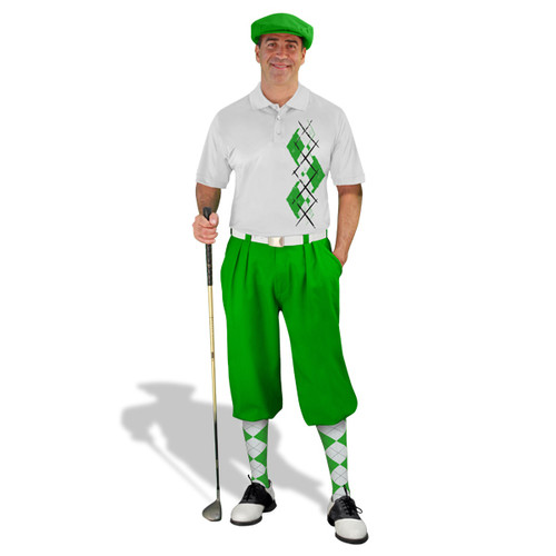 Golf Knickers Argyle Paradise Outfit AA - Lime/White