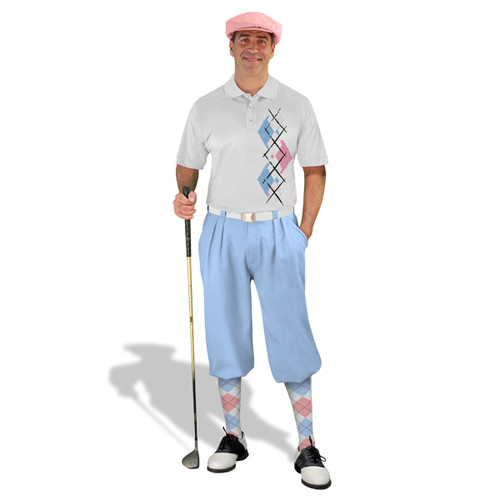 Golf Knickers Argyle Paradise Outfit TT - White/Pink/Light Blue