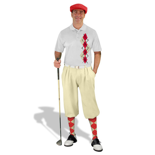 Golf Knickers Argyle Paradise Outfit DDD - Natural/Red
