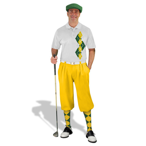 Golf Knickers Argyle Paradise Outfit EEE - Dark Green/Yellow