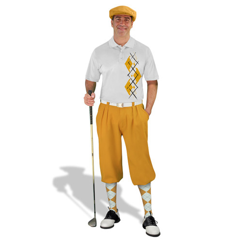 Golf Knickers Argyle Paradise Outfit FFF - Gold/White