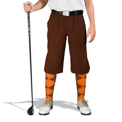 Golf Knickers - 'Par 3' Youth Brown Microfiber