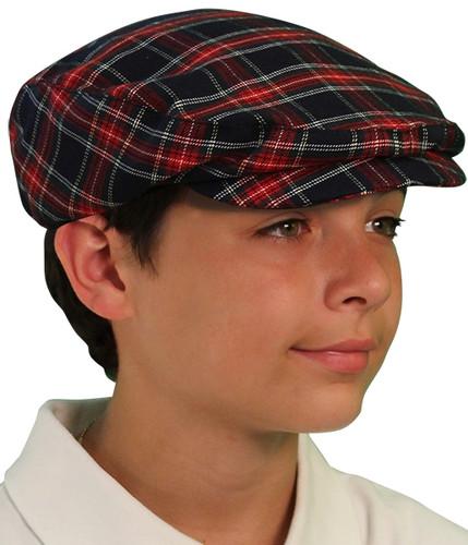 Plaid Golf Cap - 'Par 5' Youth Navy Stewart