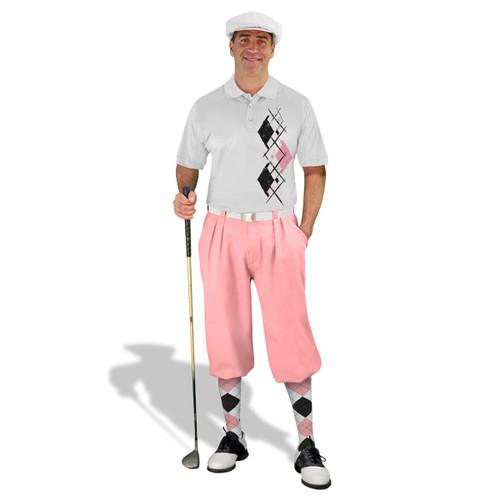 Golf Knickers Argyle Paradise Outfit XXXX - White/Pink/Black