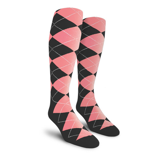Argyle Socks - Mens Over-the-Calf - 6A: Charcoal/Pink