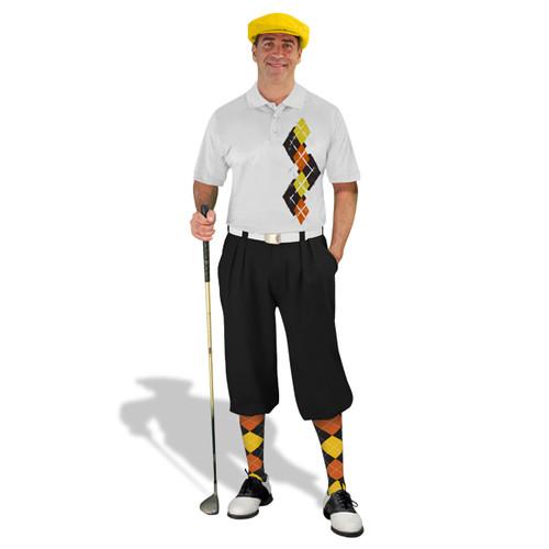 Golf Knickers Argyle Paradise Outfit 6B - Black/Orange/Yellow