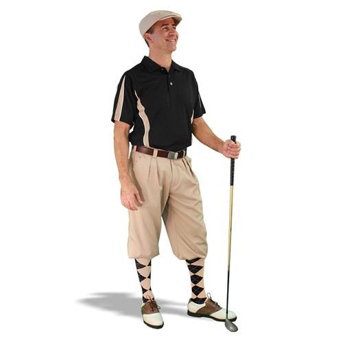 Mens Khaki & Black Golf Outfit