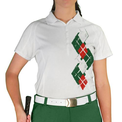 Ladies Argyle Paradise Golf Shirt - 5L: Dark Green/Red/White