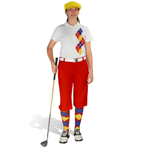 Ladies Golf Knickers Argyle Paradise Outfit 5B - Red/Yellow/Royal