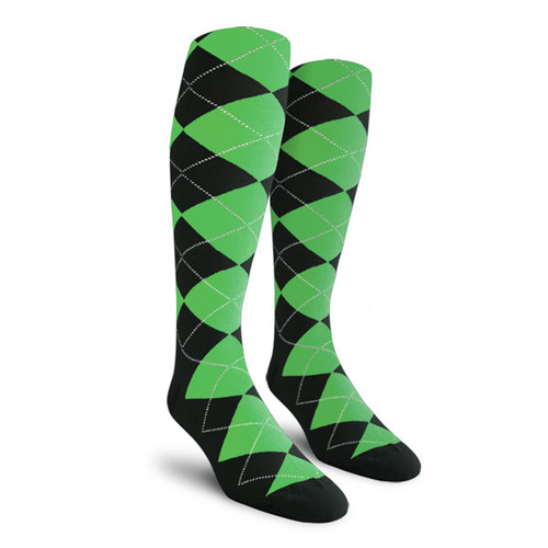 Argyle Socks - Mens Over-the-Calf - XX: Black/Lime