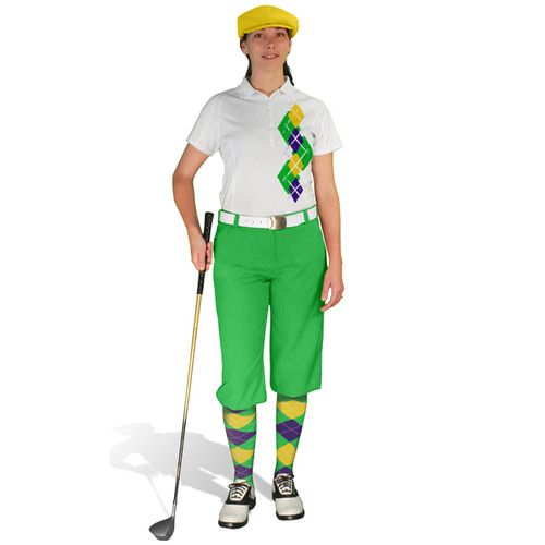 Ladies Golf Knickers Argyle Paradise Outfit 5E - Lime/Purple/Yellow