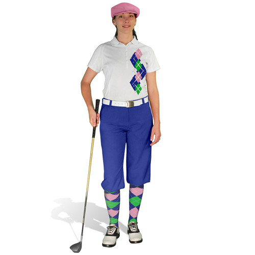 Ladies Golf Knickers Argyle Paradise Outfit 5M - Royal/Lime/Pink
