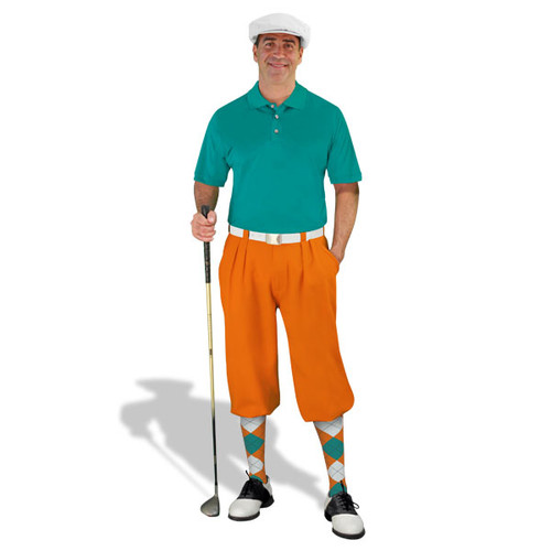 Mens Orange, Teal & White Golf Outfit