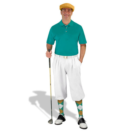 Mens White, Teal & Gold Golf Outfit