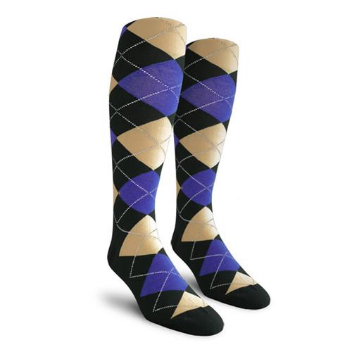 Argyle Socks - Ladies Over-the-Calf - TTTT: Black/Royal/Khaki