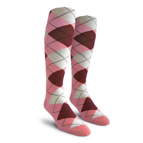 Argyle Socks - Ladies Over-the-Calf - VVV: Pink/Maroon/White
