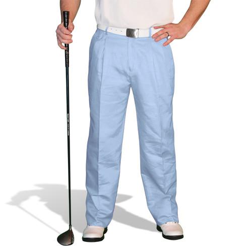 Golf Trousers - 'Par 4' Mens Light Blue Cotton/Ramie