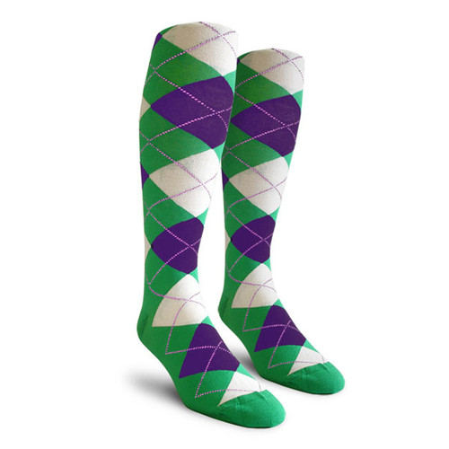 Argyle Socks - Youth Over-the-Calf - LLL: Lime/Purple/White