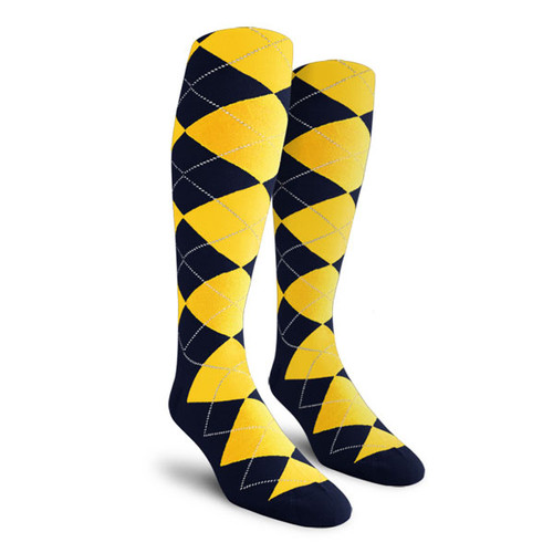 Argyle Socks - Mens Over-the-Calf - F: Navy/Yellow