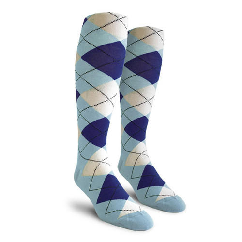 Argyle Socks - Ladies Over-the-Calf - UUU: Light Blue/Royal/White