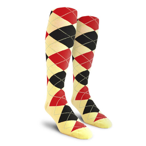 Argyle Socks - Mens Over-the-Calf - C: Butter/Black/Red