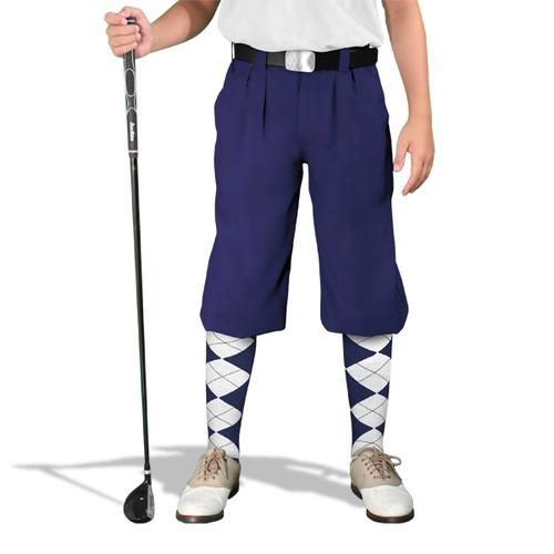 Golf Knickers - 'Par 3' Youth Navy Microfiber
