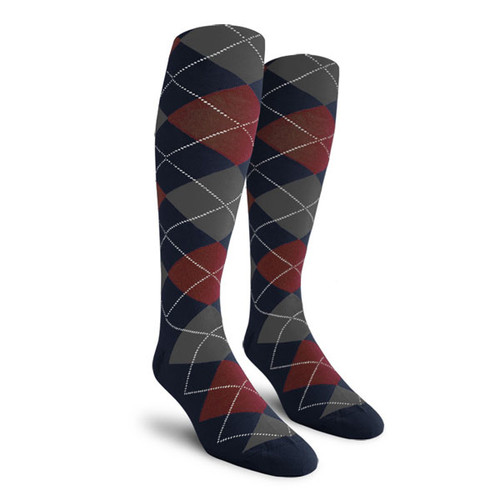Argyle Socks - Ladies Over-the-Calf - Q: Navy/Maroon/Charcoal