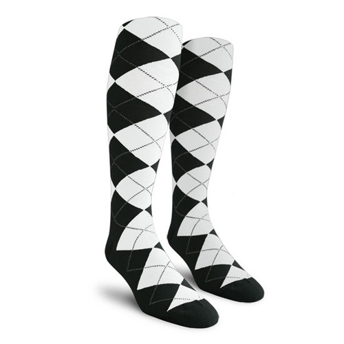 Argyle Socks - Youth Over-the-Calf - L: Black/White