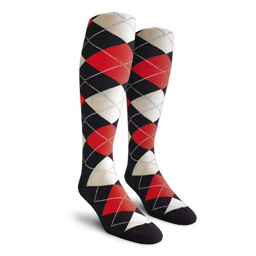 Argyle Socks - Ladies Over-the-Calf - JJJJ: Black/Red/White
