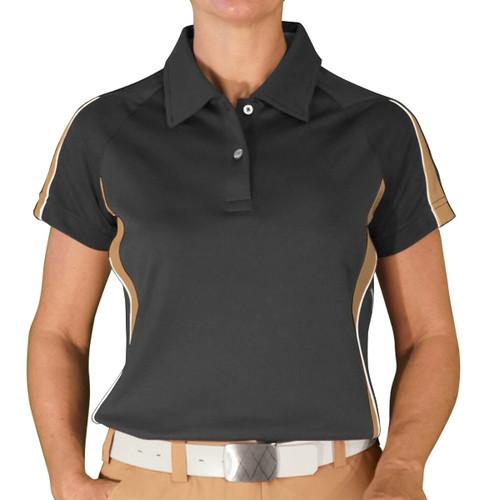 Ladies Eagle Golf Shirt - Black/Khaki