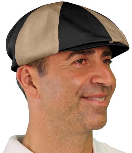 Dual-Tone Golf Cap - 'Par 4' Mens Black/Khaki