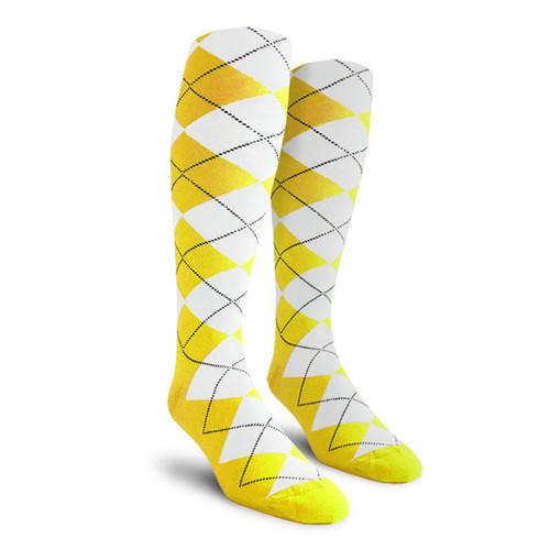 Argyle Socks - Ladies Over-the-Calf - Z: Yellow/White