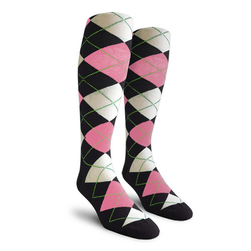 Argyle Socks - Ladies Over-the-Calf - PPP: Black/Pink/White