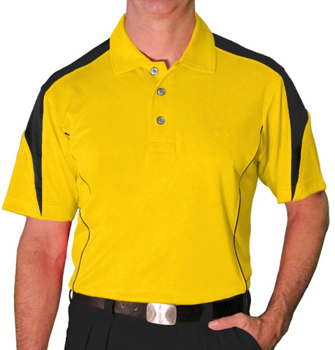 Mens Caddie Golf Shirt - Yellow/Black