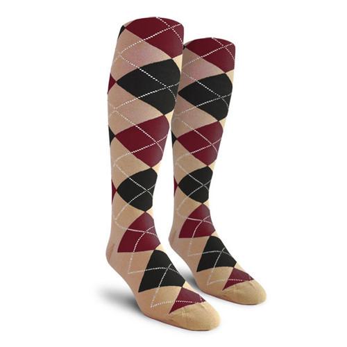 Argyle Socks - Ladies Over-the-Calf - HHH: Khaki/Black/Maroon