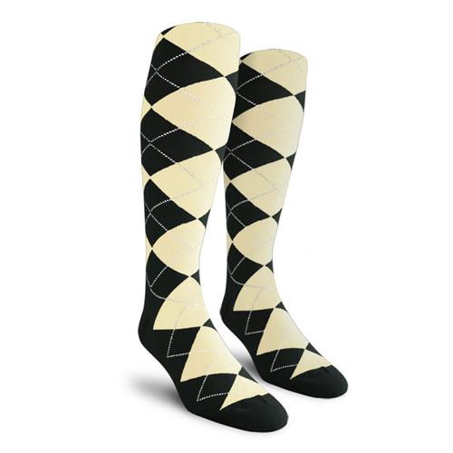 Argyle Socks - Ladies Over-the-Calf - BBB: Black/Natural
