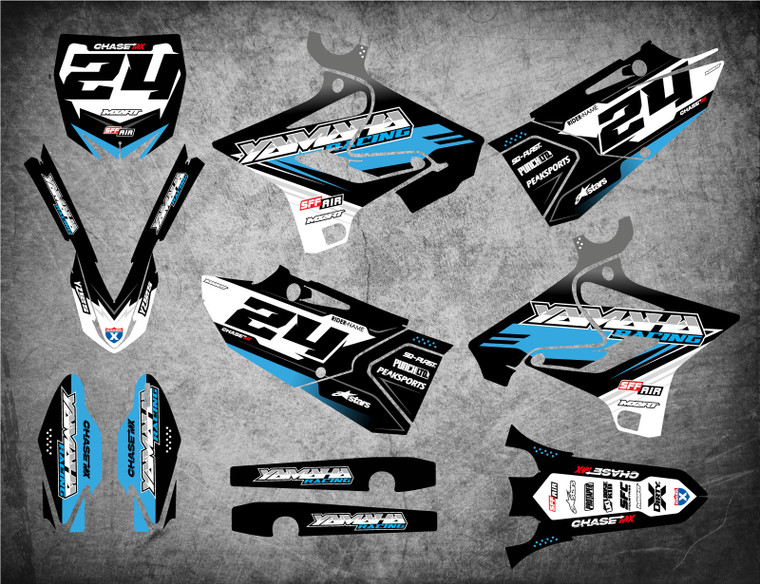 Yamaha YZ 125 YZ 250 graphics USA, premium grade material, free shipping on all Yamaha decals USA.