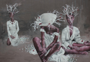 """Nymphs"", Original Acrylic on Canvas by Renata Santamarina"